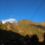 Sun-lit hills in Aguas Callientes