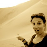 selfie, still in shock that I actually made it down that gigantic dune behind me