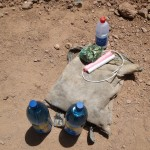 Some of our gifts to the miners -- dynamite, alcohol, coca leaves and big bottles of water