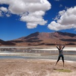 Jumping over one of the beautiful lagoons in southwestern Bolivia
