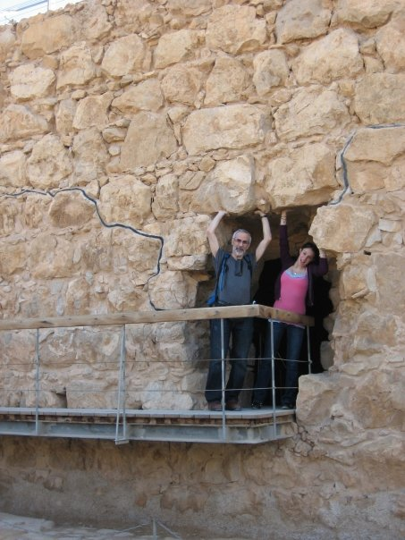 Goofing around on Masada with Dad