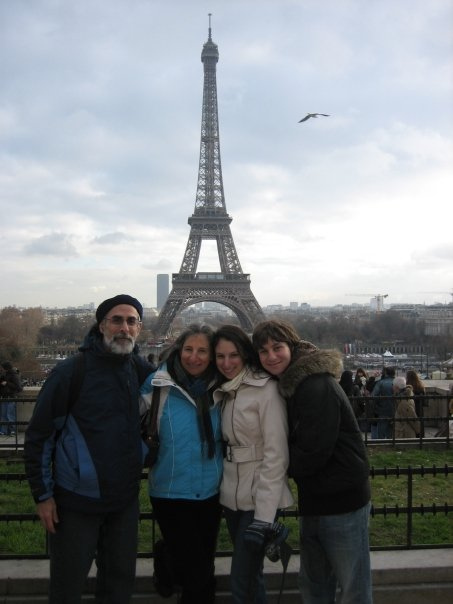 Family photo at the Eiffel Tower (again, my shoes are on, just hidden!)
