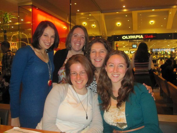Katie, Melissa, Kate, Jackie and I (the girls in my group text) at dinner in the Prudential Center