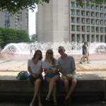 With the fountain at the Christian Science Center outside the Prudential Center
